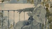 А.Н. Бенуа Портрет М. В. Добужинского.  Италия. Вилла дю Миди. 28 июня 1908.  Бумага, графитный карандаш, акварель.