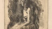 Серов В. А. Сидящая натурщица. 1899. Бумага; офорт, отпечаток сепией.