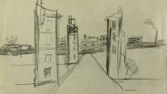Военные зарисовки павла Кондратьева  П Кондратьев  Разрушения на городской улице  1945  Бум  кар.