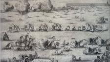 А Ф Зубов Торжественная встреча русского флота ведущего пленные шведские суда после победы при Гангуте  1714  Гравюра