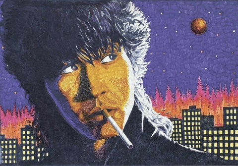Виктор Цой. Автопортрет. 1988. Бумага, фломастеры. 33 x 24.