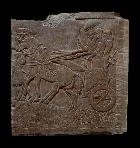 Настенный рельеф с изображением Ашшурнацирапала II в военном походе Северо-Западный дворец Ашшурнацирапала II в Кальху IX в. до н.э.