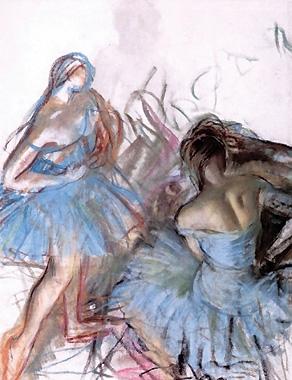 Серебрякова З.Е. Голубые балерины. 1922. Бумага, пастель. 62,5х47,7.
