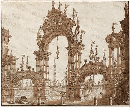 Декоративная арка над каналом. Фердинандо Галли Бибиена. Перо, кисть, бистр.