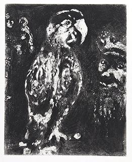 Марк Шагал. Два Попугая и Король с Сыном (Басни). Офорт.